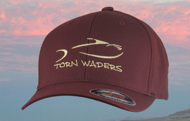 Torn Waders Maroon FlexFit® Woolly Combed Champagne Embroidered Fishing Hat