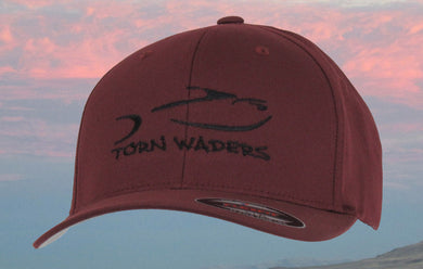 Torn Waders Maroon FlexFit® Woolly Combed Black Embroidered Fishing Hat Classic