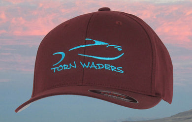 Torn Waders Maroon FlexFit® Woolly Combed Aqua Embroidered Fishing Hat Classic