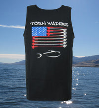 Torn Waders Fly Rod Flag Black Fishing Tank Top