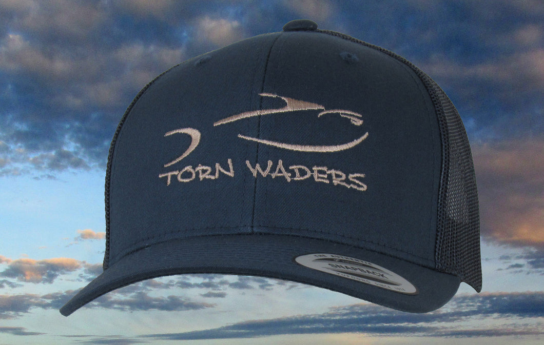 Torn Waders Navy Trucker Tan Embroidered Fishing Hat Classic