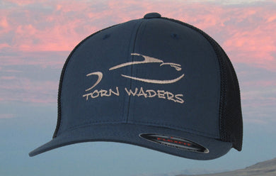 Torn Waders Navy FlexFit® Trucker Mesh Tan Embroidered Fishing Hat Classic