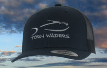 Torn Waders Navy Trucker Gray Embroidered Fishing Hat Classic