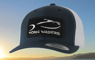Torn Waders Navy and White Trucker Fishing Hat Classic Patch