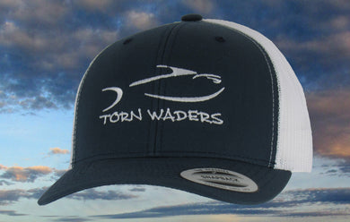 Torn Waders Navy and White Trucker White Embroidered Fishing Hat Classic
