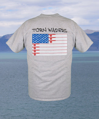 Torn Waders Old Glory Fly Rod Ash Fishing T-Shirt