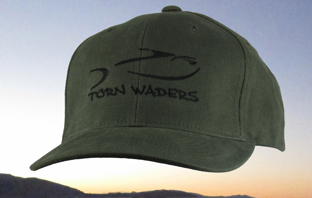 Torn Waders Olive Brushed Cotton Black Embroidered Fishing Hat Classic