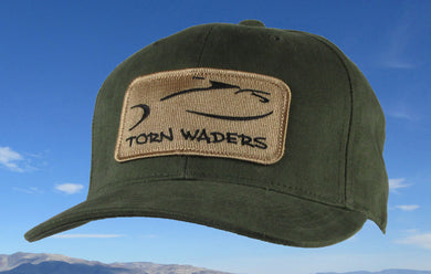 Torn Waders Olive Brushed Cotton Fishing Hat Sand Classic Patch