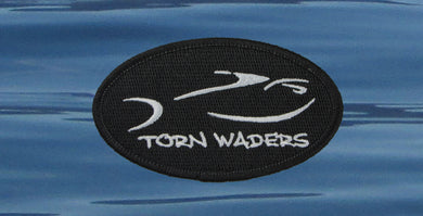 Torn Waders Embroidered Black Classic Oval Patch