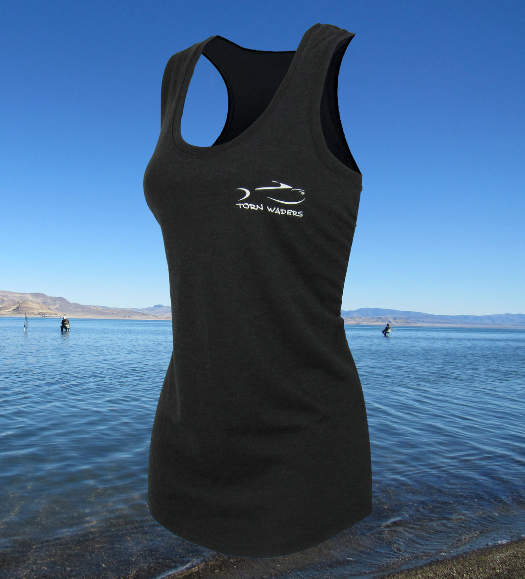 Torn Waders Fly Rod Flag Black Fishing Lady's Racerback Tank Top
