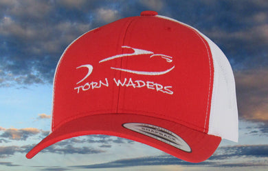 Torn Waders Red and White Trucker White Embroidered Fishing Hat Classic