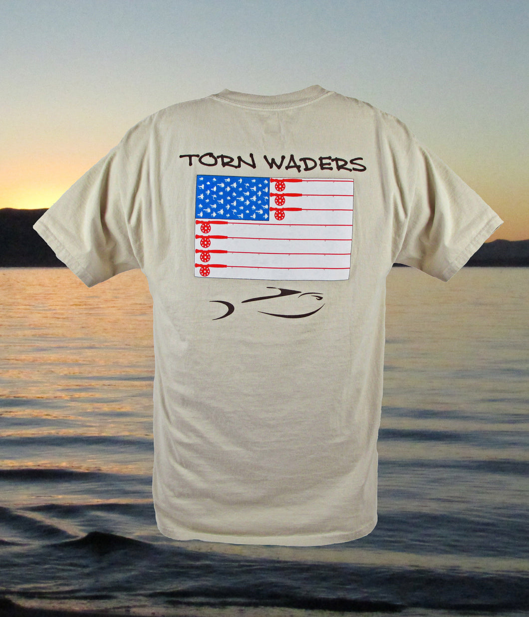 Torn Waders Old Glory Fly Rod Sand Fishing Pocket T-Shirt