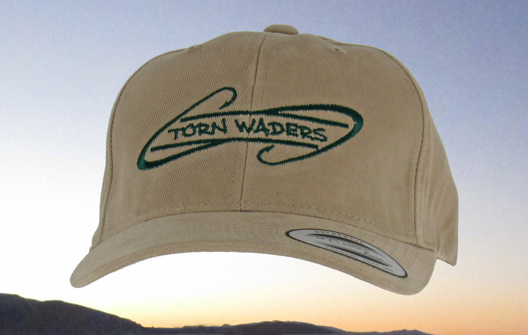 Torn Waders Khaki Brushed Cotton Green Embroidered Fishing Hat Hooks
