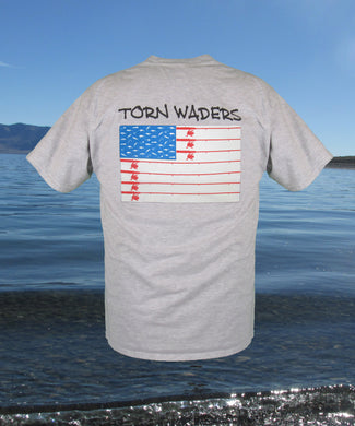 Torn Waders Old Glory Spinning Rod Ash Fishing T-Shirt