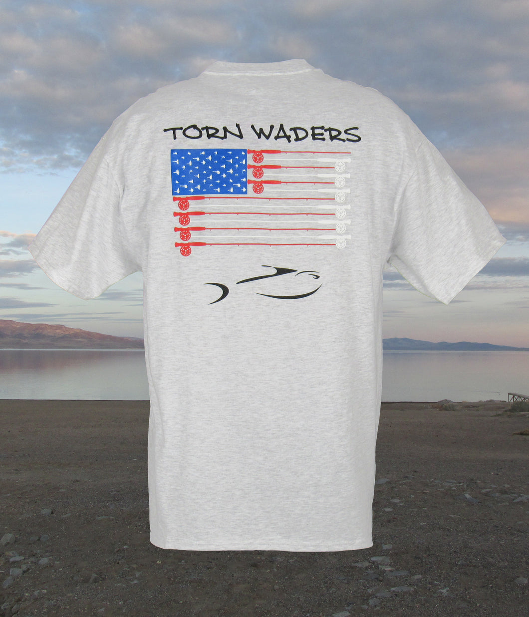 Torn Waders Fly Rod Flag Ash Fishing T-Shirt