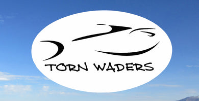 Torn Waders White and Black Fishing Sticker