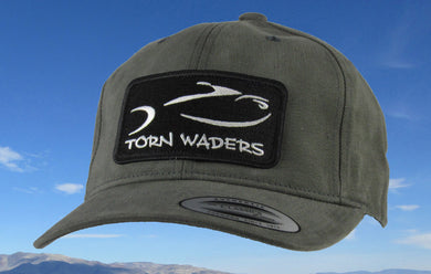 Torn Waders Dark Gray Brushed Cotton Fishing Hat Classic Patch