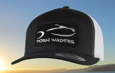 Torn Waders Black and White Trucker Fishing Hat Classic Patch