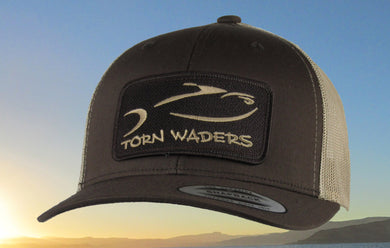 Torn Waders Brown and Khaki Trucker Fishing Hat Brown Classic Patch