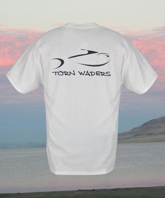 Torn Waders Classic Logo White Fishing T-Shirt