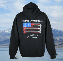 Torn Waders Fly Rod Flag Fishing Zipper Hoodie