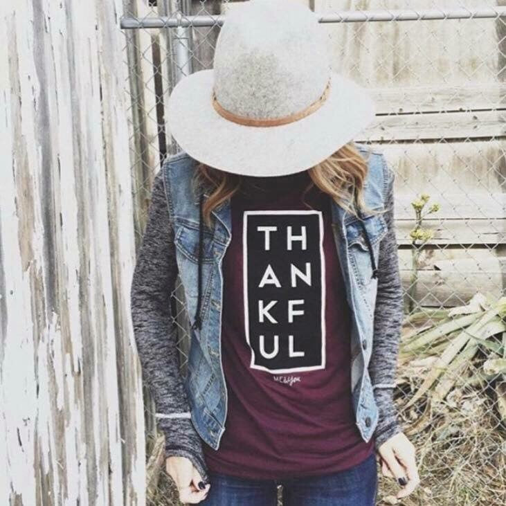 Thankful Maroon Tee