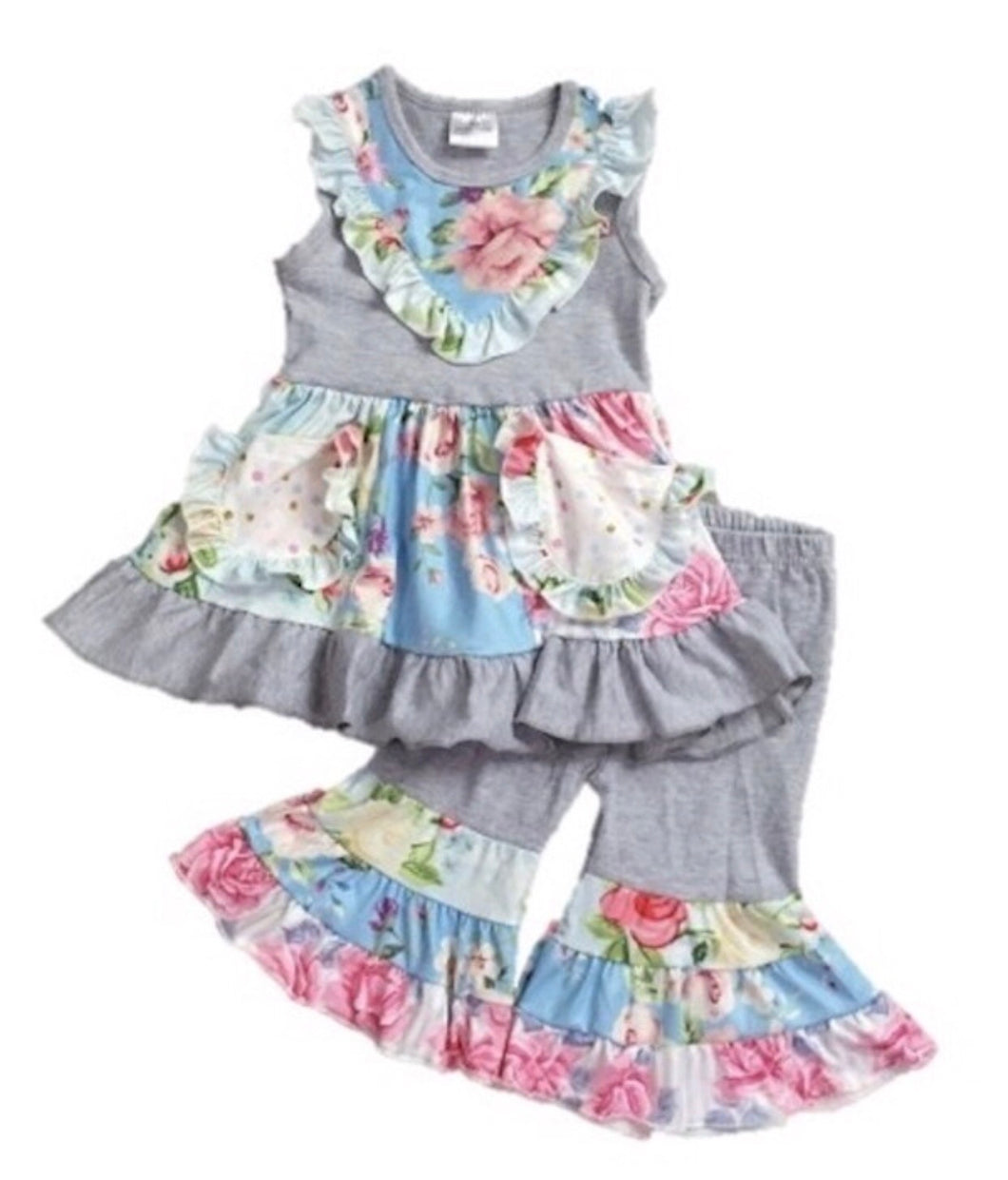 ILY LILY Grey Floral Two Piece