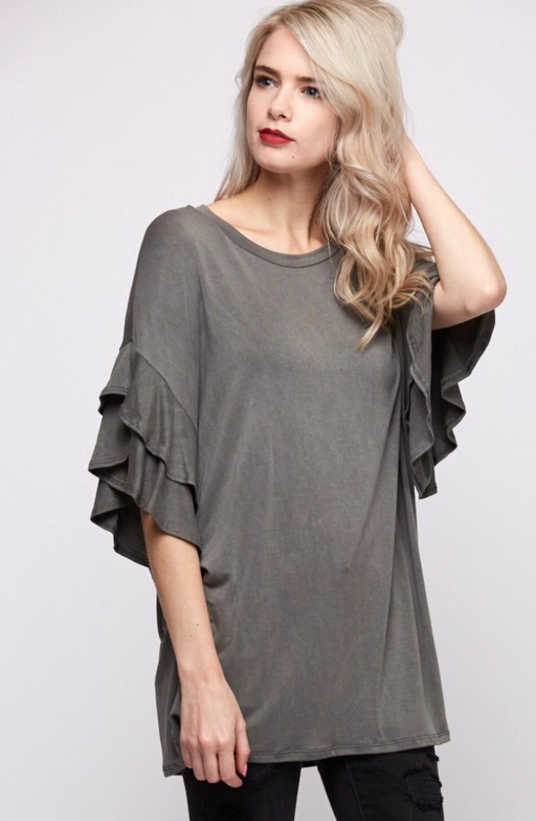 Vine & Love Grey Frill Tunic