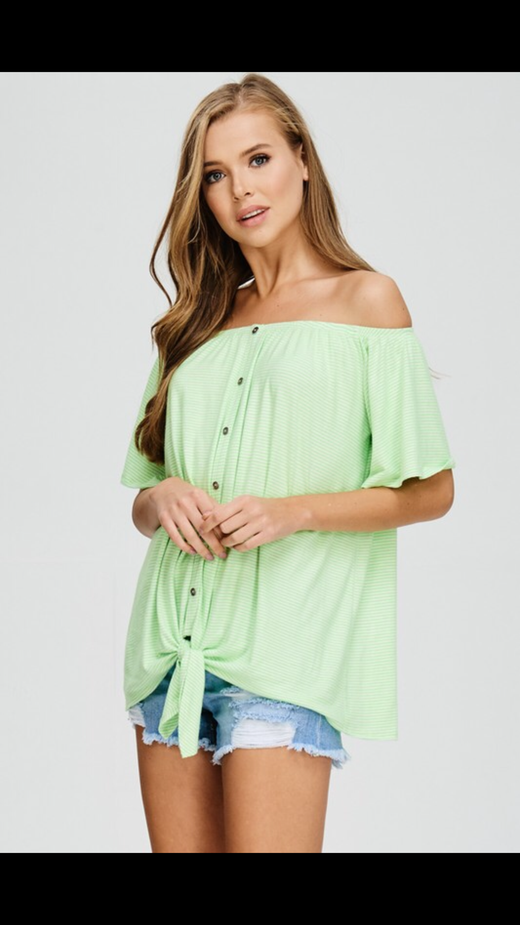 Cherish Lime Green off the shoulder Top