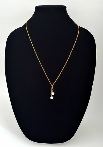 Gold Layering Necklace with Pearl Drops