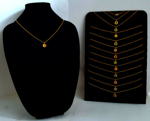Gold Layering Chains with Astrology Charm and Swarovski Crystal