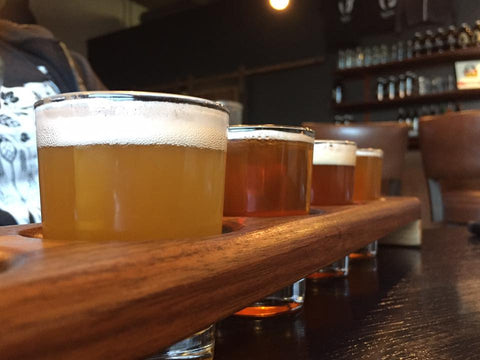 a taster flight of beers at Bellwether Brewing (Spokane, Washington) - Sudsy Style - beer fashion for your beer passion