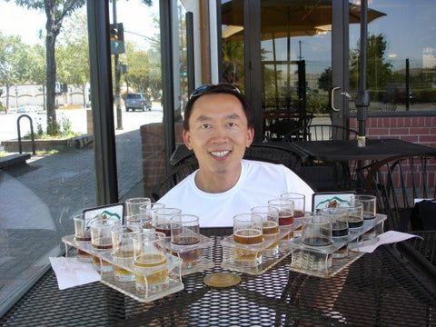 several beer samples at El Toro Brewing (Morgan Hill, California) - Sudsy Style - beer fashion for your beer passion