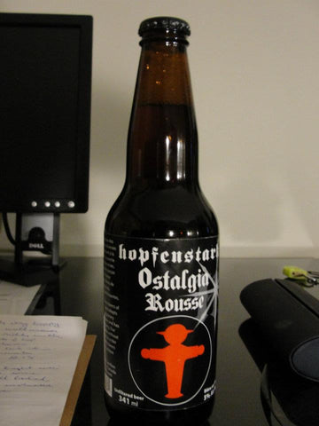 a bottle of Ostalgia Rousse from Hopfenstark Brewery (L'Assomption, Quebec) - Sudsy Style - beer fashion for your beer passion