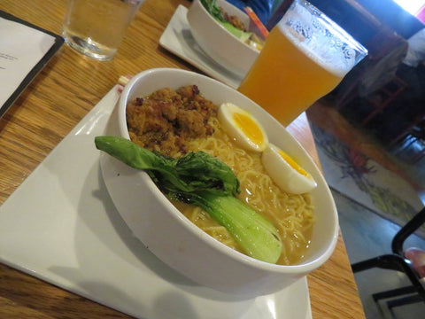A bowl of ramen and a glass of beer at 3 Floyds Brewing Co. in Munster, Indiana - Sudsy Style - Beer fashion for your beer passion
