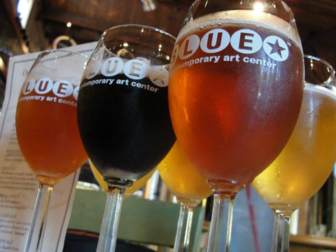 A taster flight of beers at Blue Star Brewing in San Antonio, Texas - Sudsy Style - Beer fashion for your beer passion