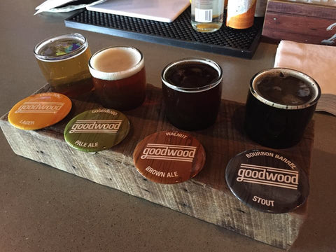 sampler tray of beers at Goodwood Brewing (Louisville, Kentucky)- Sudsy Style - beer fashion for your beer passion