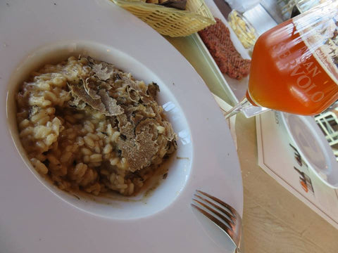 A dish of risotto and truffles at San Servolo Beer & Steakhouse in Croatia - Sudsy Style - Beer fashion for your beer passion