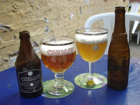 Glasses of rare Chimay Doree and Westmalle Extra Trappist beers - Sudsy Style - beer fashion for your beer passion