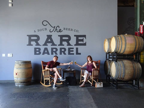 The Sudsy Style team in the rocking chairs at The Rare Barrel in Berkeley, California - beer fashion for your beer passion