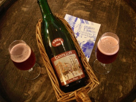 A bottle of rare, single-cask vintage-dated Cantillon Lou Pepe Kriek in the brewery's tasting room