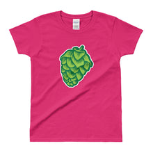 pink women's Hop Cone beer-themed -shirt - Sudsy Style - beer fashion for your beer passion