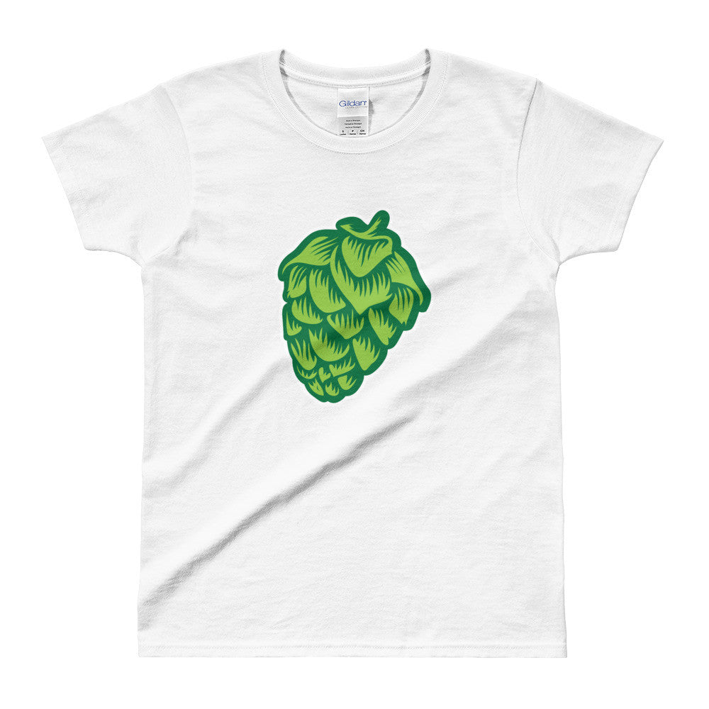 white women's Hop Cone beer-themed t-shirt - Sudsy Style - beer fashion for your beer passion