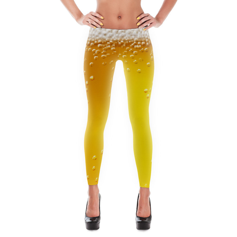 Beevana beer-themed Brewga beer leggings for yoga or gym. - Sudsy Style - beer fashion for your beer passion