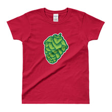 red women's Hop Cone beer-theemd t-shirt - Sudsy Style - beer fashion for your beer passion