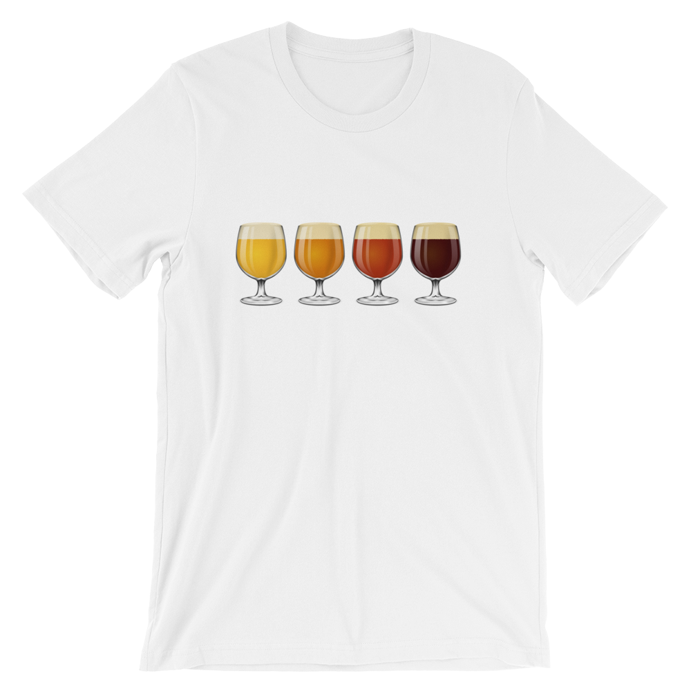 white men's Taster Flight beer-themed t-shirt - Sudsy Style - beer fashion for your beer passion