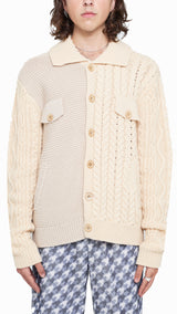 Textured Merino Wool Panel Knit Jacket