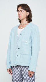 Opal Blue Bouclé Cardigan Jacket
