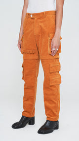 Apricot Brown Corduroy Utility Tech Pants