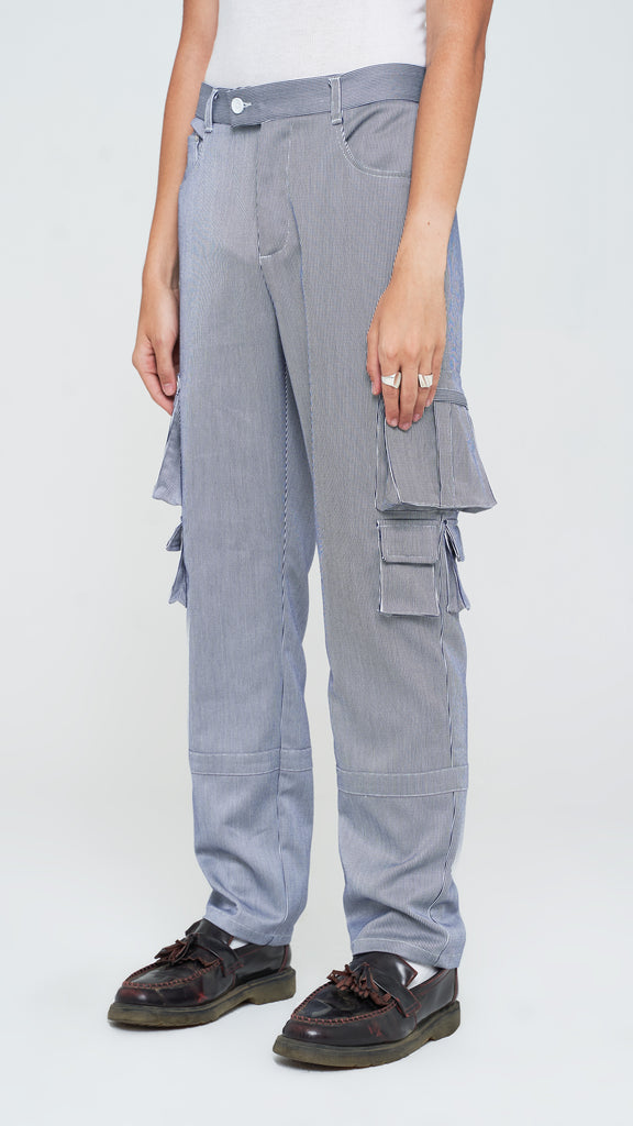 Striped Utility Cargo Tech Pants